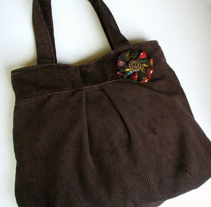 Chocolate Brown Corduroy Shoulder Bag w Vintage Button by hellome