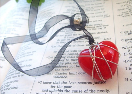 Prisoner of Love Ribbon Necklace.....large red glass lampwork bead,silver wire,black ribbon