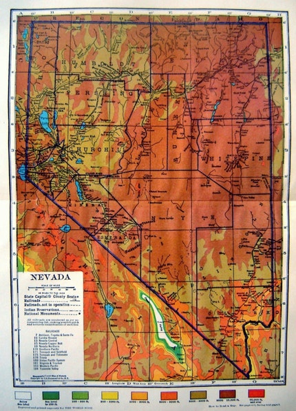 Vintage 1929 Color Map of Nevada