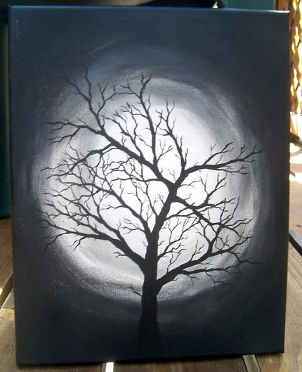 introverted painting black and white tree