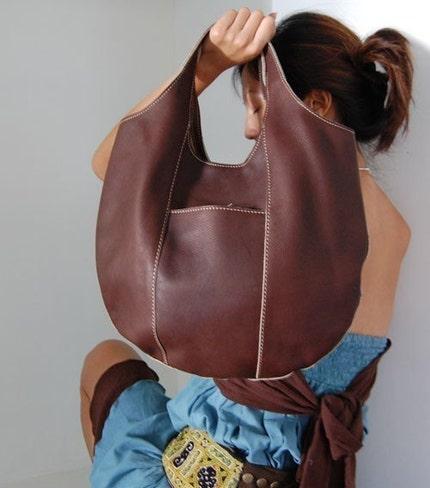 Acorn Brown - Dark Brown  Medium Sized Handmade Leather Hobo Handbag