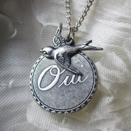 Silver French Oui and Bird