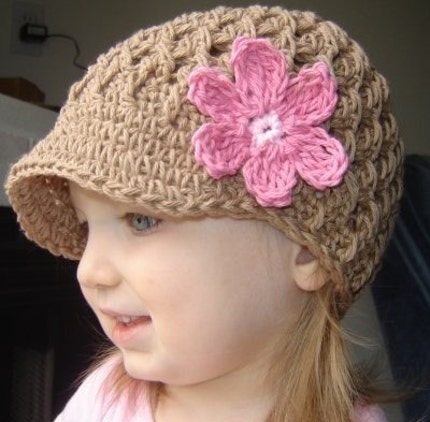 6-12 Month Flowered Visor Beanie - army tan, pastel pink, rose pink