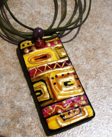 WEAR THE ART  PENDANT Dimensional CRANBERRY SAGE WEARABLE Tile  MODERN ART FOCAL BEAD Handpainted