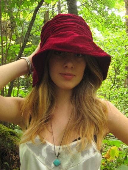 Vintage Red Velvet Slouchy Hat