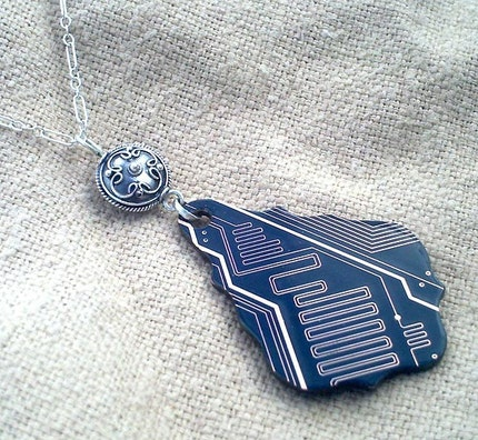 Blue Baroque Circuit board necklace -20 inch sterling silver chain