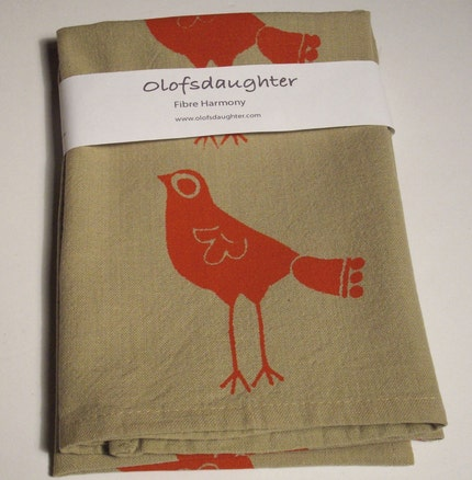indian bird in red Screen printed Napkins
