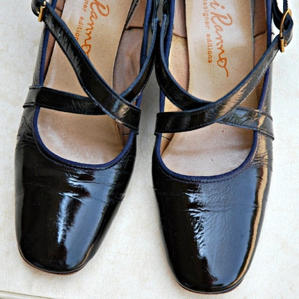 Vintage Ci Ranno Strappy Black Mary Janes - Patton Leather size 6.5