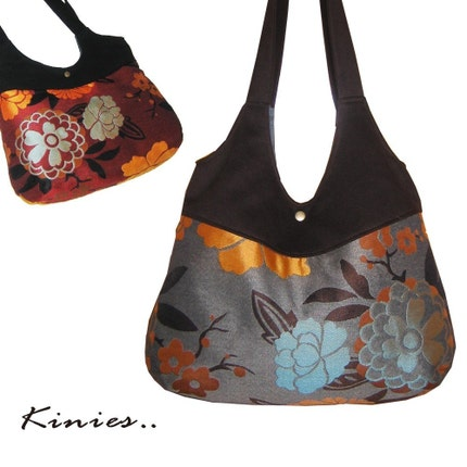 Round Double Strap Shoulder Bag  Brown Floral by Kinies on Etsy