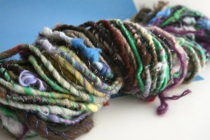 Turning, Candy Wrapper corespun handspun art yarn, 50 yards