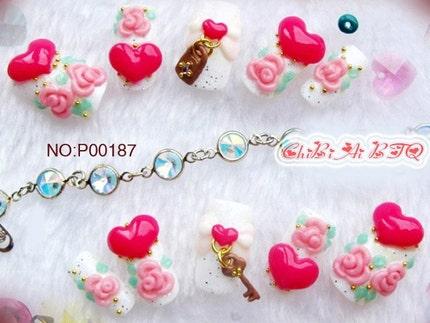 Key of Heart Nail Art uppsättning av 10 (P00187)