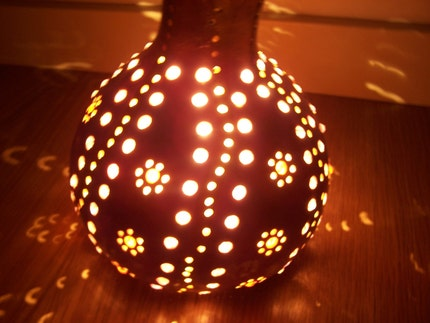 NATURAL ORGANIC GOURD LAMP with decoration , by lampdesign on Etsy