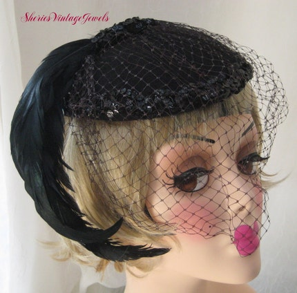 VINTAGE COCKTAIL HAT BLACK with VEIL FEATHERS and SEQUINS
