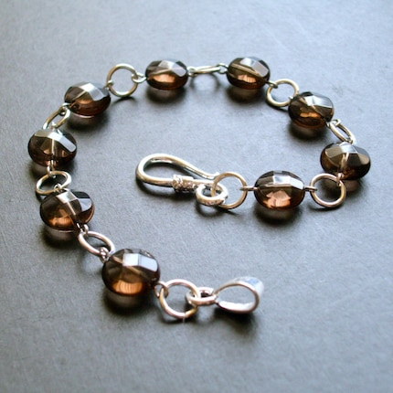 The Nichole -- Smoky Quartz Coins and Silver Links Bracelet