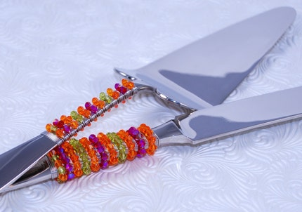 SWAROVSKI Crystal Cake Server Set In Tangerine, Lime And Hot Pink
