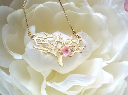 Last Flower. pink flower on the tree. Magical and Whimsical brass necklace. Dainty and feminine.