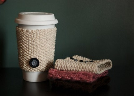 Cable Knit Coffee Cozy - Pretty Pink
