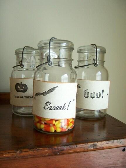 Halloween Treat Vintage Mason Jars - Set of 3