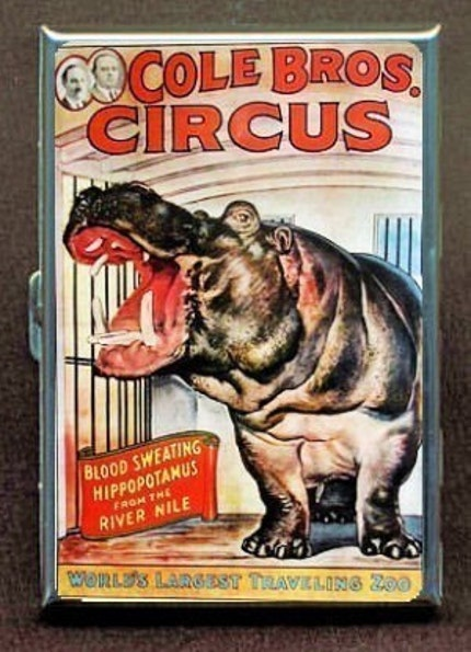 COLE BROTHERS CIRCUS HIPPO ID CIGARETTE CASE WALLET