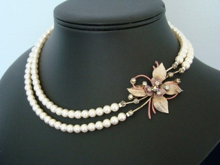 The Pinot Noir - Pearl Bridal Necklace