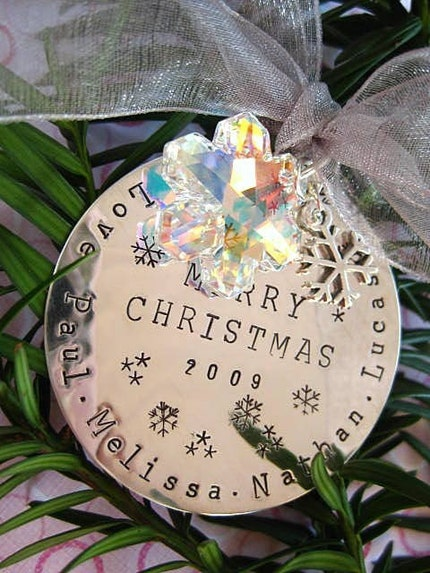 ULTIMATE CHRISTMAS ORNAMENT/GIFT - Hand Stamped Sterling Silver Disc with Large Swarovksi and Sterling Snowflake Charms