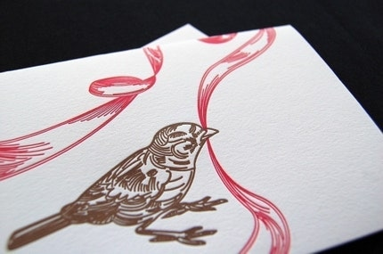 letterpress cards, bird with ribbon, set