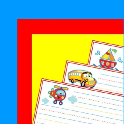Kids Writing Paper - Transportation Theme - Printable PDF by HoneyBops on Etsy from etsy.com