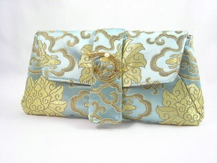 Victoria - Brocade Evening Clutch with removable Vintage Brooch by mabellecherie on Etsy from etsy.com
