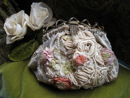 1920s silk lame ribbon purse with rhinestone handle Wedding