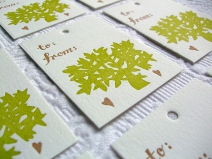 Letterpress Gift Tags. Green and Brown Tree. Set of 8.