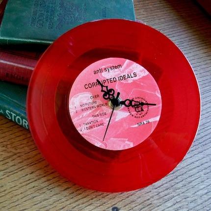 Mini Record Wall Clock- Red Anti System Corrupted Ideals Punk