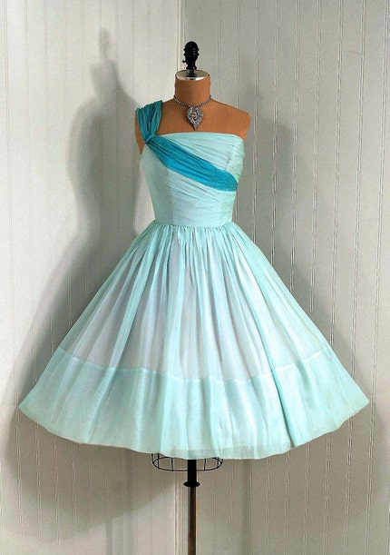 1950's Vintage Baby-Blue Ruched Silk-Chiffon Couture One-Shoulder Asymmetric Grecian-Goddess Princess Circle-Skirt Wedding Party Prom Cocktail Dress