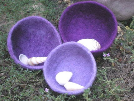Shades of Purple, felted wool nesting bowls