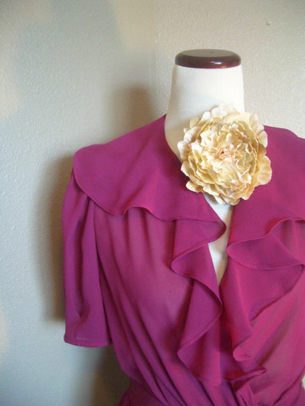 Vintage 80s RASPBERRY RUFFLE DRESS Size Medium