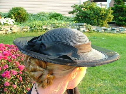 Vintage 1950's Wide Brim Black Hat