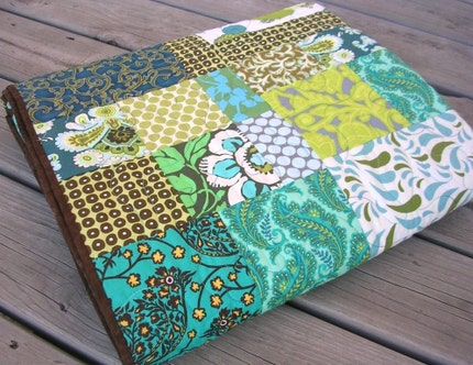 Teal and Chocolate Splendor - Heirloom Quilt - Lap or Twin Coverlet