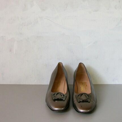 Pumps 95 by MariesVintage on Etsy pumps designer gunmetal gray heels