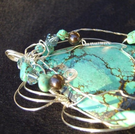 Turquoise Pendant with Swarovski Crystals, and Pearls