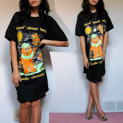 Shirt Dress on Vintage 80s Novelty Halloween Graphic Oversized T Shirt Dress Xs S M L