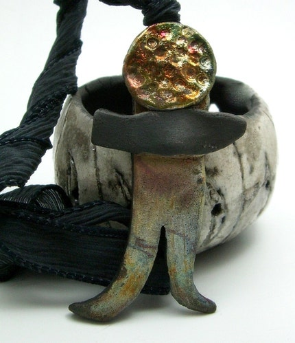 Raku Little Man Pendant Raku Ceramic Jewelry by MAKUstudio