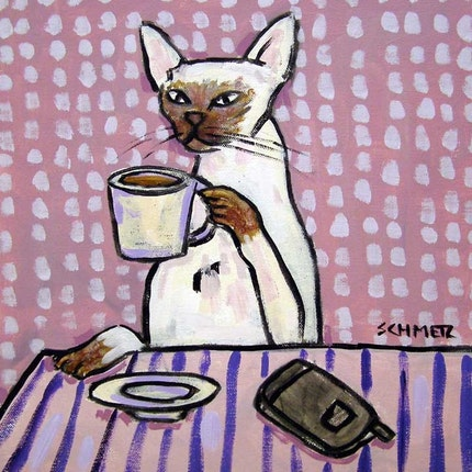 Siamese Cat at the Coffee Shop Art tile Coaster