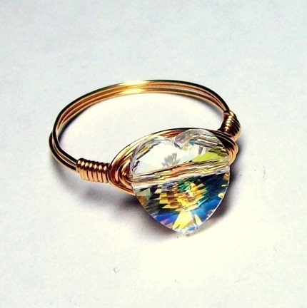 BELLA'S RING  Swarovski Crystal Heart   GENUINE by bluembrownlee from etsy.com