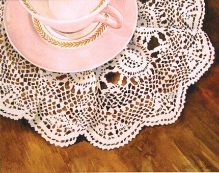 Pink Teacup on Lace Doily