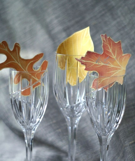 100 Paper Leaves in Autumn Fall colors - Events - Weddings - Crafts - Place cards - Escort Cards-Decoration