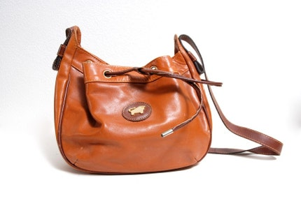 Leather Drawstring Purse with Gold Bull