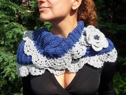 NECKWARMER BLUE,BLUE  and  GREY COWL,AOD by EBRUK,NEW CREATION,FALL,WINTER by Ebruk on Etsy from etsy.com