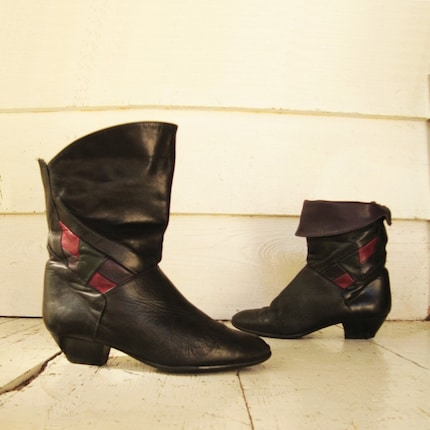80s Vintage FOLD OVER  BLACK Boots SZz 6.5 / 37