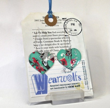 Single Happy Heart Earrings From Upcycled Aluminum