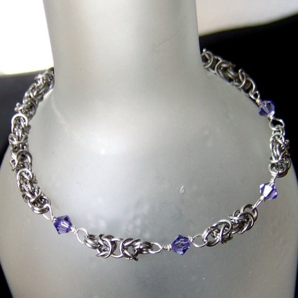 Silver and Gray Niobium Dragonscale Chainmaille Bracelet