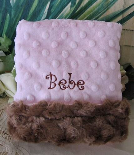 Super Soft Minky Minkee Embroidery PINK and CHOCOLATE  Theme Baby Blanket  Lovie